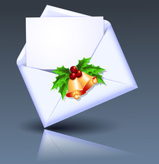 Open envelope with golden bells