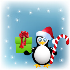 Penguin with Christmas candy and gift box