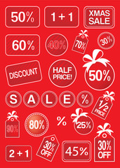 Christmas sale and discount labels and tags vector illustration
