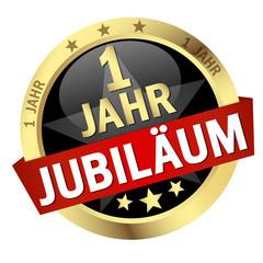 """Button mit Banner """" 1 JAHR JUBILÄUM """""""