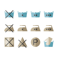 Set of instruction laundry icons, washing symbols