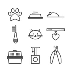 Set of pets icons, cat symbols