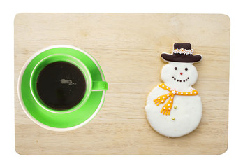 coffee cup and snowman cookie