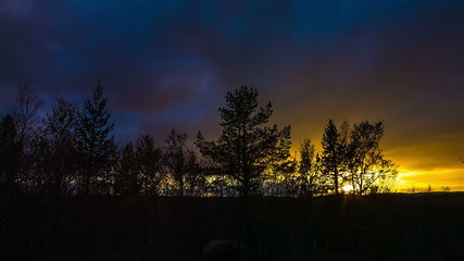 Bright sunset over the autumn forest