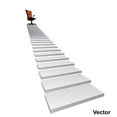 Vector white stair with a chair