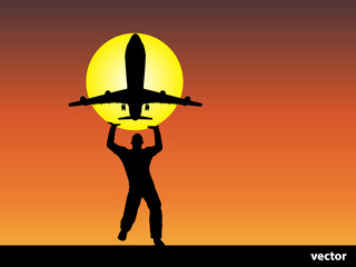 Vector man silhouette with plane at sunset