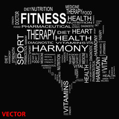 Vector conceptual health word cloud
