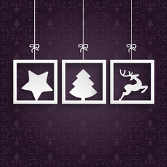 Purple Ornaments 3 Frames