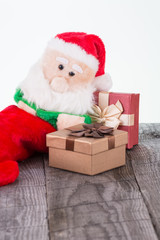 Santa Claus toy and gift boxes