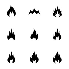 Vector black fire icon set