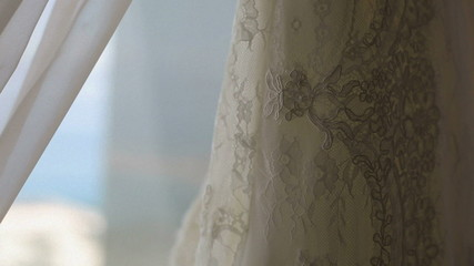 Lace wedding dress close up