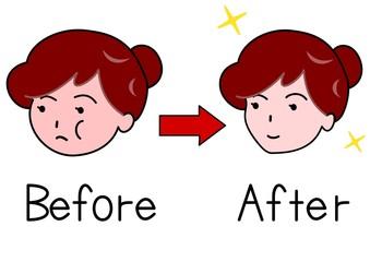 シェイプアップ前と後の女性の顔