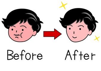 シェイプアップ前と後の男性の顔