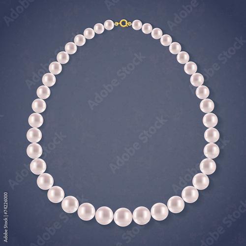 Round Pearls Necklace on dark background. - 74226000