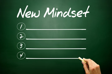 NEW MINDSET blank list, business concept on blackboard