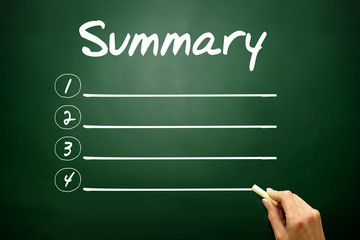 Hand drawn SUMMARY blank list, business concept on blackboard
