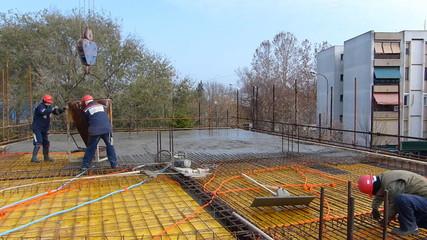 Concreting slab of steel reinforced concrete on modern buildings