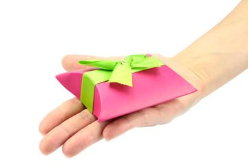 main tendu et cadeau