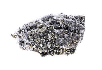 Pyrite and galena absorbed by quartz ,natural crystal