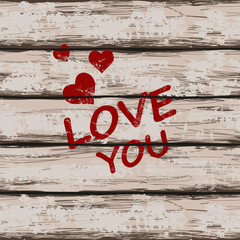 Valentine's card with text love you