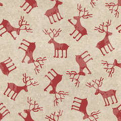 Retro Christmas seamless pattern with funny deers