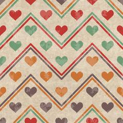 Geometric seamless pattern with hearts