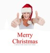 Composite image of woman with the thumbs up and a christmas hat