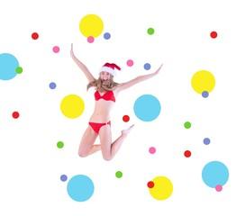 Composite image of festive fit blonde in red bikini
