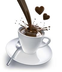 Eine Tasse Schokolade vor Weiss