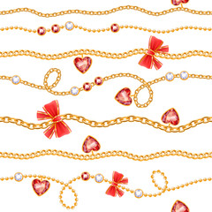 Golden chains and red gemstones with bows pattern.