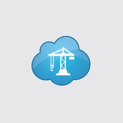 Blue cloud building crane icon.