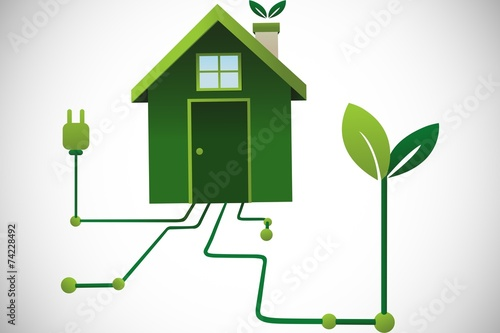 Composite image of clean energy house - 74228492