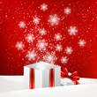 Christmas gift box with shiny snowflakes