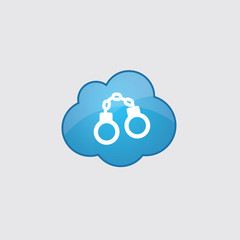 Blue cloud handcuffs icon.