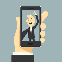 Businessman taking selfie phot