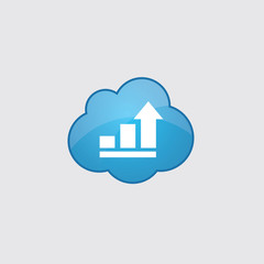 Blue cloud business diagram, chart icon.
