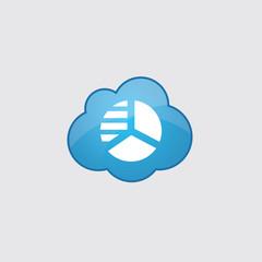 Blue cloud circle diagram icon.