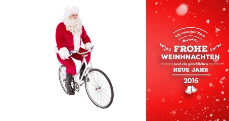 Composite image of cheerful father christmas cycling