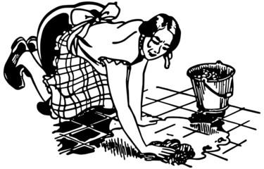 Woman Washing Floor