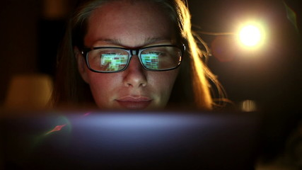 Beautiful Woman With Glasses Using Tablet Computer