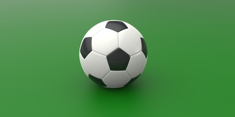 Black and white soccer ball on green background football