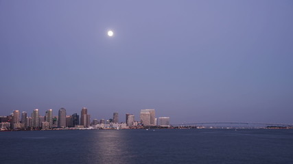 San Diego City Skyline Twilight Moonrise Time Lapse