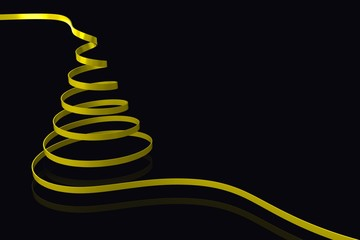 Composite image of yellow christmas tree ribbon