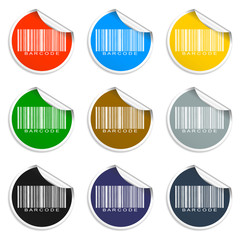 Barcode icon, Set of blank stickers