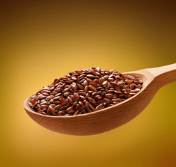 Linseed in a wooden spoon
