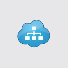 Blue cloud hierarchy icon.