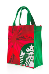 BANGKOK, THAILAND - Dec 5, 2014: A new Starbucks cloth bag avail