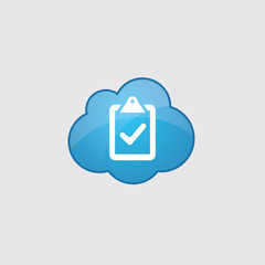 Blue cloud vote icon.