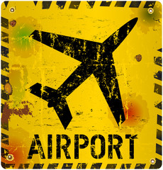 Grungy airport sign, vector illustration, illu, eps 10