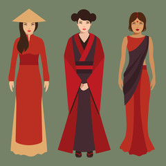 chinese, japanese and indian women, asian people